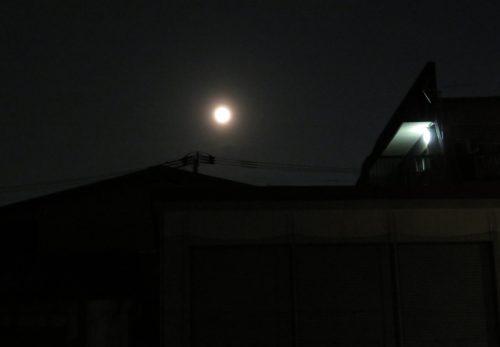 満月の下、夜詣り参拝